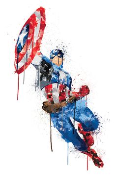Avengers Assemble: Captain America Watercolor Splatter Classic Figure Art by Marvel is printed with premium inks for brilliant color and then hand-stretched over museum quality stretcher bars. Money Back Guarantee AND Free Return Shipping. Marvel Comics, Marvel Avengers Assemble, Avengers Art, Ms Marvel, Marvel Art, Marvel Heroes, Marvel Tattoos, Watercolor Splatter, Watercolor Painting