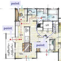 家事室と洗濯スペースが効率的につながる間取り Villa, Floor Plans, Flooring, How To Plan, Home Decor, Yahoo, Arch, Urban, Drawing