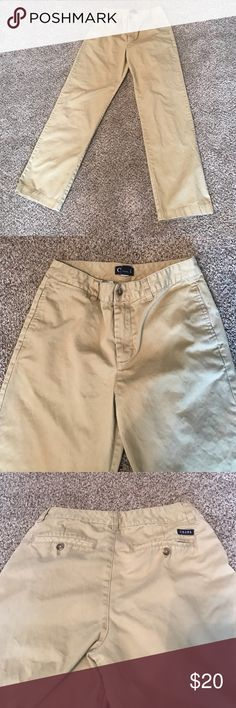 Boy's Chaps Chinos Boy's Chaps Tan Chinos.  Classic fit.  2 Side Front Pockets with Flat Front.  2 Button Hidden Back Pockets. Chaps Bottoms Casual