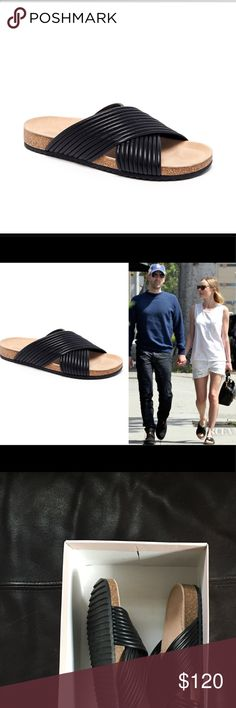 """NIB Loeffler Randall Piped Napa Leather Sandal sz8 These sandals sold out everywhere. Features: 1"""" flat cork heel; crisscross vamp; molded footbed; ridged rubber outsole; slip-on style. Made in Brazil. Loeffler Randall Shoes Sandals"""