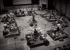 Hans Zimmer's drum circle from the Man of Steel soundtrack recording sessions.