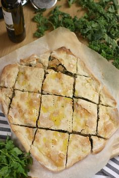 Croatian soparnik - a rustic kale pie made with the EASIEST homemade dough ever! Whole Food Recipes, Snack Recipes, Cooking Recipes, Snacks, Kale Pie Recipe, Croation Recipes, Vegetarian Recipes, Healthy Recipes, Vegetarian Cooking