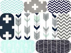 Navy grey and mint arrow nursery set by MamaAndCub on Etsy