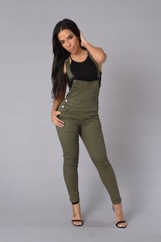 - Available in Olive, Black, White and Khaki - Suspender Straps - 5 Pocket Design - Skinny Leg - Pants length - 97% Cotton 3% Spandex