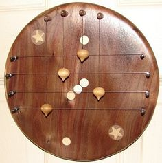 Door Harp With Star Constellations Inlay-ed Into A  Walnut Round, 4-String Shape.