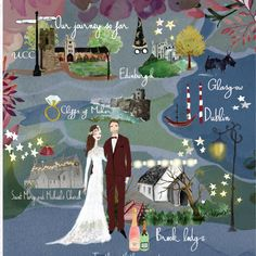 Winter wedding invitation with their own personal relationship map. #wedding #invitation #custommade #watercolour #portrait