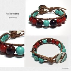 Boho Chic Leather-wrapped bracelet - Natural Mahogany obsidian and  Turquoise with Coated Coral (Synthetic)
