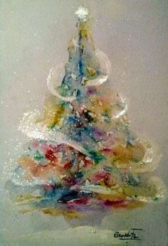 christmas paintings Ideas For Christmas Tree Drawing Ideas Holidays Watercolor Christmas Tree, Christmas Tree Drawing, Watercolor Trees, Christmas Paintings, Watercolor Cards, Christmas Art, Painted Christmas Tree, Art Watercolour, Arte Digital Fantasy