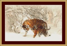 Mother Tiger And Cub Cross Stitch Pattern