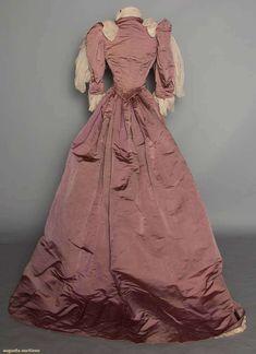 Mauve Reception Gown, 2 piece silk faille, ivory silk bodice & skirt panel w/ silver soutache, cut steel bead & blue pearl embroidery, bodice w/ white chiffon ruffles, 1890s