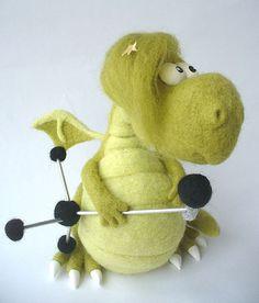 Needle Felted Toy  Dragon  Elvis by TashaToys on Etsy,