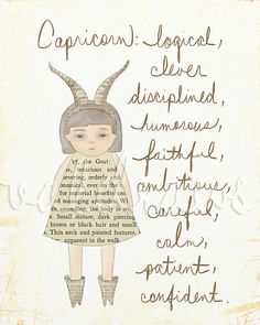 Capricorn art print Astrology art print Zodiac art by ValDraws, $15.00