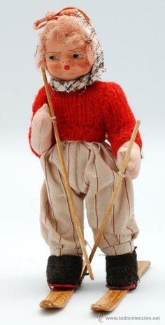 Muñeca esquiadora Mari Pepa Mendoza de Gros años 40 - 50 cabeza terracota cuerpo trapo