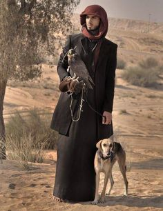 Arab falconer and saluki hound