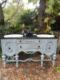 Our antique sideboard buffet repurposed into a bathroom ...