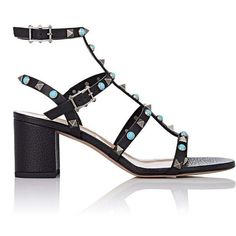 Valentino Garavani Women's Rockstud Triple-Strap Sandals ($1,175) ❤ liked on Polyvore featuring shoes, sandals, black, black strappy sandals, black block heel sandals, embellished sandals, double buckle sandals and strappy block heel sandals