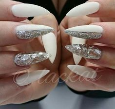 White and silver glitter gel nails