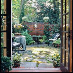 would like to make my courtyard a garden room or outdoor kitchen. French Courtyard, Small Courtyard Gardens, Small Courtyards, Outdoor Gardens, Courtyard Ideas, House With Courtyard, Brick Courtyard, Courtyard Entry, Small Gardens