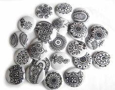 """Black Henna   Flat-Back Buttons (Set of 20)"" - $7.50"