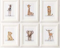 Safari Nursery Print set of 6, Safari animals , African Baby Animal Prints, Giclee, African Animal Art, Safari Nursery Art