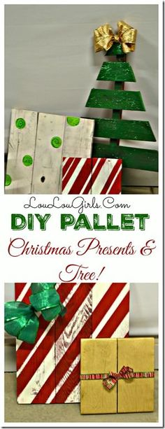 Creative stamding DIY Christmas tree from wood with pallet presents #outdoorchristmasdecor