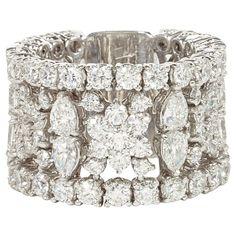 Idée et inspiration Bague Diamant : Image Description Unique Multi-shape Wide Diamond Band | From a unique collection of vintage band rings at www.1stdibs.com/…