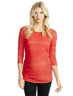 Dress your bump in hot pink   3/4 sleeve scoop neck lace trim maternity top by Motherhood Maternity