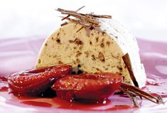 Marroniparfait mit Zwetschgenkompott Parfait, Camembert Cheese, Mousse, Food And Drink, Pudding, Ice Cream, Sweets, Cooking, Recipes