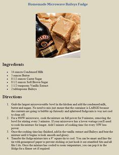 Homemade Microwave Baileys Fudge