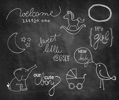 Baby Doodle Chalkboard Overlays