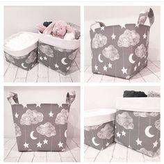 New Lullaby baskets. Great storage for nursery. Pretty grey clouds, stars and moons make perfect unisex decor. Blankets also available upon request.