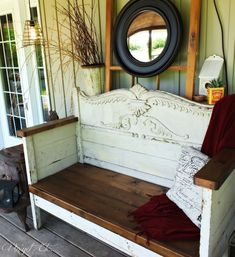 DIY Antique Headboard Bench .