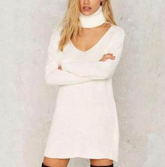 Hollow cut out sweater dress plain white high collar for women