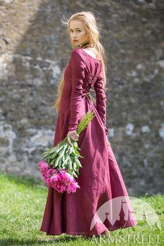 Original natural flax linen medieval style dress for sale :: by medieval store ArmStreet Medieval Fashion, Medieval Clothing, Linen Dresses, Blue Dresses, Marine Uniform, Dark Blue Color, Burgundy Color, Red Color, Medieval Costume