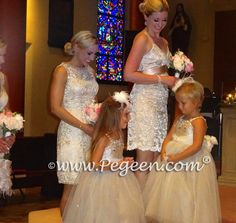 Toffee silk and tulle flower girl dresses encrusted with Swarovski Crystals