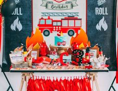 "Fire Truck / Firefighter / Birthday ""C's rustic firefighter party"" 