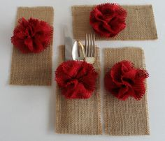 Burlap Silverware Holders - so cute. so laid back. I'd keep them for parties down the road