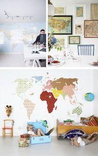 world map walls
