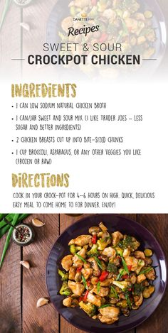 sweet and sour crock pot chicken by Danette May - broccoli was mushy - add later. too much sauce - try omitting the broth. Dannette May Recipes, Clean Eating Recipes, Lunch Recipes, Whole Food Recipes, Dinner Recipes, Healthy Eating, Healthy Recipes, Simple Recipes, Healthy Dinners