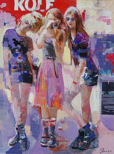 """""""Three graces"""" Original painting by Dima K. 40""""x 30"""" canvas. Available in Artbydimak Etsy shop."""