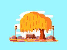Willow Tree by Razvan Vezeteu Illustration Noel, People Illustration, Landscape Illustration, Character Illustration, Graphic Illustration, Forest Mural, Graph Design, Affinity Designer, Character Design Animation