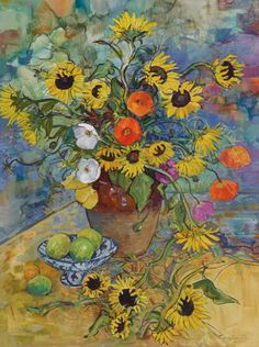 BOISSEVAIN, William Australian (b1927)_Sunflowers and Poppies