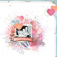 Maya Road Guest Designer - January 2018 - Small Pink Vintage Paper Flowrs; XO Heart Steel Die; Shimmerz Paints; small bits of paper & chipboard from Amy Tangerine and Dear Lizzy