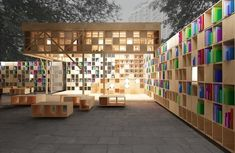 Constructed in Moscow's Park Muzeon for Archiwood and Office the book pavilion accommodates those with larger libraries, offering walls of shelf space. Library Architecture, Pavilion Architecture, Sustainable Architecture, Amazing Architecture, Interior Architecture, Landscape Architecture, Public Library Design, Wooden Pavilion, Urban Furniture