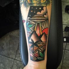 Pyramid Tattoo Design with Very Cool UFO