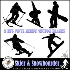 Eps VINYL READY Vector Images of Skiing & by IrrationalArts, $25.00