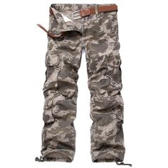 Fasttg Men's Loose Style Cotton Outdoors Camouflage Military Pants