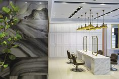 Asian Style Hair Salon and Spa Interior in Black, Gold and White Color - QORBEE