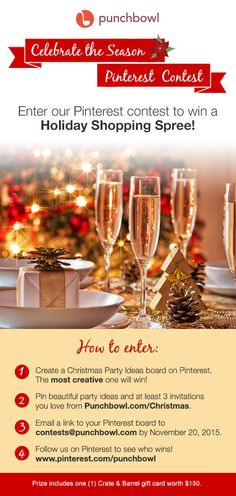Celebrate the Season Pinterest Contest from Punchbowl. Win $150 Crate & Barrel gift card to Deck the Halls! #contest