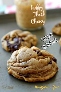 Puffy, Chewy Peanut Butter Chocolate Chip  Cookies #chocolatechipcookies #peanutbutterchocolate